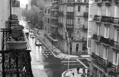 Wet Balcony (Gabo Barreto) Tags: sansebastian donostia paisvasco basquecountry balcony rain wet street blackandwhite film 35mm canon fd a1 hp5 ilford reflections analoguephotography filmisnotdead ishootfilm selfdeveloped scannedfromfilm epsonv500 xtol