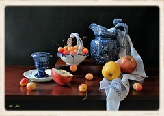 Late August (Esther Spektor - Thanks for 12+millions views..) Tags: stilllife naturemorte bodegon naturezamorta stilleben naturamorta composition creativephotography summer august tabletop food fruit apple cherry slice pitcher cup basket plate napkin box ceramics pattern ambient light white yellow red blue cobalt orange brown black estherspektor canon