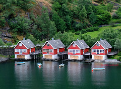 Boathouses (Sandra Leidholdt on Autumn Break) Tags: flam norway scandinavia norwegian boathouses cottages sandraleidholdt flåm water hillside boat building aurlandsfjord aurland