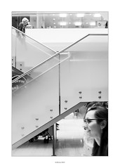 Stairs #2 (AnthonyCNeill) Tags: people town center city ville stairs women shopping black white blanco negro noir blanc schwarz weiss fujifilm fuji x100f acros centro lines angles geometry decisive moment mujeres frau geometría gente escaleras treppe géométrie