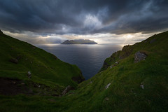 Storm is coming (sven483) Tags: faroe islands kalsoy trollanes sunset landscape kallur lighthouse panorama light beams