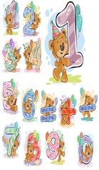 A set of vector illustrations with a brown teddy bear and numerals and mathematical symbols. (inola1405) Tags: number numeral set teddybear animal bear stuffed teddy vector toy illustration happy birthday letter isolated cake candle bearcartoon brown year anniversary congratulation card clip symbol greeting character fluffy birthdaycake arithmetic counting mathematics invitation cartoon party holiday plush sign comic emblem cheerful label element balloon typography fun inscription art furry cute