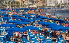 Benidorm, a very busy Levante beach. (CWhatPhotos) Tags: cwhatphotos people sand sun light sunlight blue sky skies olympus four thirds 43 omd em10 ii digital camera photographs photograph pics pictures pic picture image images foto fotos photography artistic that have which with contain artistc benidorm beach seaside resort spain costa blanca spanish fun hol holiday september 2018