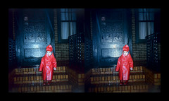 Philip discovers rain [Mother looks on from inside] - Jersey City, New Jersey - January, 1952 (ah_pook) Tags: stereorealist 3d parallel rain weather kids jerseycitynj winter newjersey raincoat 1952