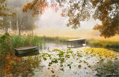 The dam (Jean-Michel Priaux) Tags: paysage landscape nature savage river pond pool alsace france boat hdr autumn tree trees forest priaux water lake smallboat poetic poetry onirique