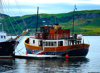Scotland West Highlands Argyll Oban an old wooden motor cruiser called the Glen Massan 7 July 2018 by Anne MacKay