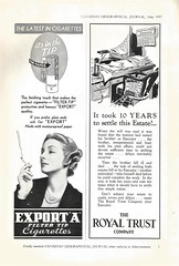 Canadian Geographical Journal, May 1937 (STUDIOZ7) Tags: canada canadian woman smoking smoker cigarette desk 1920s 1930s thirties 30s ad advertisement spiderweb telephone