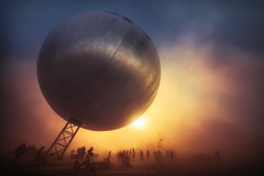 TheORB at Sunrise (Mike Filippoff) Tags: burningman burningman2015 theorb sphere ball large playa sunrise dust glow silhouette early desert blackrockcity nevada nikonflickraward ngc landscape sky