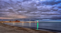 Beach & Pier (Marty Bisson) Tags: pier lighthouse light water clouds ontario fall