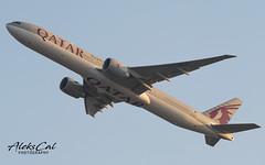 Qatar Airways B777-3DZ A7-BEO (aleks_cal) Tags: qatar doha takeoff chicago airport kord ord boeing boeing777 b777 b773 sunset avion aviation plane photo