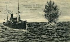 Vorpostenboot der Ems beim sprengen feindlicher treibmine - anischtkaart (Dirk Bruin) Tags: vorpostenboot vorpostenboote vpboot kriegsmarine kaiserliche marine begeleit gleitzug fahrzeug kriegsschiff noordzee nordsee flakship