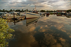 Sky water (alan.irons) Tags: goole southyorkshire marina sky clouds boats moored water early morning september 2018 uk calm reflections