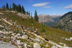 Hikers Headed Down from Maple Pass (riversandcreeks) Tags: maplepassloop inventoriedroadlessarea roadlessarea roadless hiking northcascades northcascadesscenichighwaycorridor