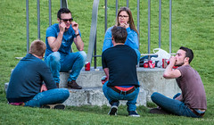2018 - Belgium - Gent - Street People - 4 of 6 (Ted's photos - For Me & You) Tags: 2018 belgium cropped ghent nikon nikond750 nikonfx tedmcgrath tedsphotos vignetting denim denimjeans beer beercan beercans drinking people groupphoto group ghentbelgium belt glasses sunglasses