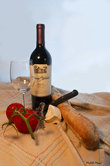 Still life with wine (lamoustique) Tags: salmoncreek vancouver washington stilllife wine cheese bread tomatoes domainestemichelle washingtonwines chateaustemichelle