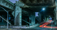 into the monster's mouth (pbo31) Tags: sanfrancisco california night dark color nikon d810 august summer 2018 boury pbo31 lightstream motion traffic roadway potrerohill bridge overpass highway 280 ramp infinity green black