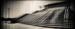 Pyramid (Jeff Wild) Tags: stadium omaha baseball stairs pyramid abstract monochrome microclics holga film