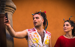 Devils selfie (damar47) Tags: pentax pentaxiani pentaxian da50200mm street urban pride gaypride lgbt bologna italy italia reflex colorfull colors color streetstyle candid documentary parade people stranger portrait ritratto happiness ricoh streetphotography city