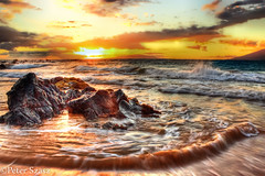 Life is beautiful (Peter Szasz) Tags: maui hawaii wailea summer sea ocean tropical pacific deep sunset rocks reflection orange golden island water stones wave foam landscape nature hdr clouds colourful life
