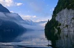 Early morning (evakatharina12) Tags: königssee berchtesgaden schönau schönfeldspitze alps bavaria germany lake water mountains clouds morning summer