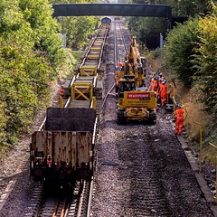 66221 (JOHN BRACE) Tags: 2000 gmemd london canada built co class 66 loco 66221 english welsh scottish livery seen between crawley ifield stations during track renewal works photo taken from a23 avenue road bridge looking towards