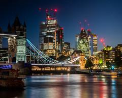 London   |   City Blue Hour (JB_1984) Tags: skyscraper tower thegherkin towerbridge river thames riverthames water reflection colour bluehour cityoflondon butlerswharf londonboroughofsouthwark london england uk unitedkingdom nikon d500 nikond500