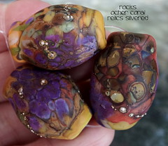 Rocks Ocher Coral Relics Silvered (Laura Blanck Openstudio) Tags: openstudio openstudiobeads glass murano handmade lampwork set beads jewelry rocks nuggets pebbles stones whimsical funky odd abstract asymmetric earthy organic colorful multicolor made usa fine arts art artisan artist etched matte opaque glow glowing frosted silvered sterling silver lilac lavender purple plum eggplant mauve violet yellow ocher coral orange suede honey caramel brick sienna mustard copper green brown bohemian boho aqua kaleidoscopic