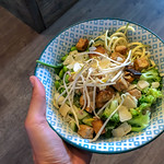 Green Goddess Bow with colorful quinoa, broccoli, edamame, leaf spinach, parmesan, mung sprouts and zoodles thumbnail