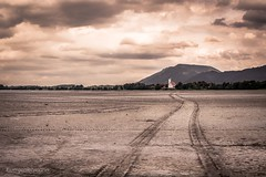 Dried-Up Lake (juergenlehmann) Tags: forggensee lake schwangau waltenhofen church desert sand leadinglines bavaria bayern germany deutschland juergenlehmann jürgenlehmann photography travel landscape monochrome sky clouds colorful sony alpha sonyalpha a77ii ilca77m2 sal1650