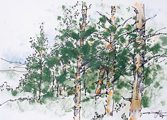 P1018721 (Gasheh) Tags: art painting drawing sketch nature tree trees forest line pen color pastel gasheh 2018