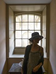 Mariëlle, Suffolk 2018: Window beauty (mdiepraam) Tags: suffolk 2018 ickworth nationaltrust marielle portrait pretty gorgeous attractive mature fiftysomething brunette woman lady milf elegant classy hat scarf dress