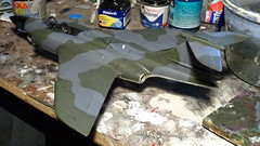 "1:72 Blackburn B.87 ""Barghest"" F(AW).3; ""WZ507/A"" of the Royal Air Force 19 Squadron; Leconfield, Yorkshire (Great Britain), summer 1959 (Whif/Kitbashing) - WiP (dizzyfugu) Tags: 172 blackburn barghest buccaneer hawker hunter gloster javelin cf100 canuck fifties raf centenary whif whatif fictional aviation kitbash modellbau dizzyfugu royal air force 19 squadron allweather fighter sapphire firestreak"
