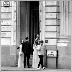 Strand smokers (* RICHARD M (7.5 MILLION VIEWS)) Tags: street candid mono blackwhite smokers smoking weddingguests weddingdress weddingreception bridesmaids streetsigns architecture scousers scouse liverpudlians merseysiders liverpool merseyside humour cigarettesmokers thestrand weddings habits fixes hits addicts addiction