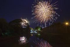 132A1161 (tanongsak.s) Tags: fireworks firecracker wall city celebration festival thailand night colorful river bright reflection tree bridge light