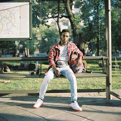 Fast portrait on the bus stop (belousovph) Tags: portra160 mediumformat analog film portra kodak 120 zenzanon bronica light russia atmospheric sky zenzanon80mm28 zenzanonps80mm square portrait sport tree wall busstop