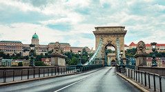 Panoramic view of the Széchenyi Chain Bridge in Budapest without cars Hungary (T is for traveler) Tags: historic town urban buda szechenyi street lion transportation road evening danube budapest bridge széchenyi hungary nocars travel arch architecture europe city monument landmark arc building river tourism sky chain old famous iconic icon history view cityscape empty nopeople traveler traveling tisfortraveler travelphotography backpacker digitalnomad canon 5d markii yongnuo 50mm
