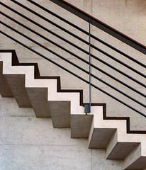 ZRH Concrete Stairs (Packing-Light) Tags: 120 6x45 mamiya6451000s analog film mediumformat kodak portra160 negative c41 reversal switzerland airport swiss zurich concourse terminal travel architecture zrh minimal abstract stairs lines