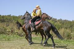 Squaring off for horseback wrestling (tmeallen) Tags: horses horsemanship kazakh two men cultlure traditionalattire competition equestrian sport culture travel almaty kazakhstan horsebackwrestling
