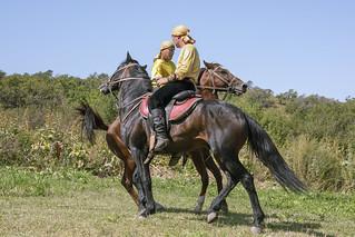 Squaring off for horseback wrestling