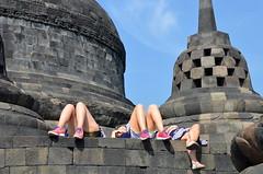 Resting legs in Borobudur, Java, Indonesia (josepsalabarbany) Tags: borobudur temple java indonesia budism budist legs stupa tourists buddhism buddha