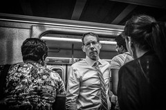 Or Three's A Crowd. (rockerlan) Tags: newyork unitedstates or threes crowd train underground eye contact nyc new york manhattan subway people
