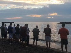 Seminarians conclude evening of recreation at Presque Isle State Park praying the Salve Regina at sunset, 8/24/2018