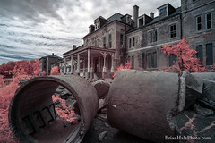 Climb In (Brian M Hale) Tags: ir infrared infra red 590nm 590 nm nanometer westboro westborough ma mass massachusetts outside outdoors abandoned insane asylum state hospital decay newengland new england usa brian hale brianhalephoto