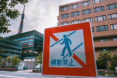 No pedestrian crossing (hapePHOTOGRAPHIX) Tags: 392jpn 392tky architecture asia asien building fujixe3 honshu honshū imagecontent japan japón minato object outdoor photography place schriftzeichen sign tokio tokyo tokyotower carácter character dsplyys hapephotographix japanese japanisch japonés 本州 東京 東京タワー 港区 minatoku tōkyōto jp