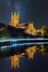Worcester Cathedral (Sam Hamer) Tags: worcestercathedral worcester cathedral sky long exposure night reflection reflections city