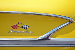 Yellow Impala - 1958 Impala Detail (Brad Harding Photography) Tags: 1956 56 chevy chevrolet impala detail closeup antique chrome yellow racingflags generalmotorscorporation restoration restored