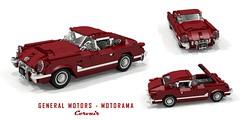 General Motors - Motorama 1954 Corvette Corvair (lego911) Tags: chevrolet chevy chev corvette corvair fastback coupe 1954 concept show 1950s classic blue flame six auto car moc model miniland lego lego911 ldd render cad povray afol usa america american sportscar