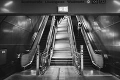 up it goes (Zesk MF) Tags: bw black white mono street people rolltreppe cologne zesk urban architecture fuji x100f symmetry severinstrase subway underground ubahn