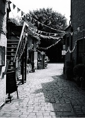 Pentax Auto 110 - Lomography Orca (5) (meniscuslens) Tags: alley mews bunting cobbles wendover buckinghamshire mono monochrome bw bnw pentax auto 110 lomography orca vintage film camera