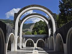 Santuari de Meritxell 2 (RobertLx) Tags: tree sky mountain architecture arch sanctuary church andorra meritxell pyrenees europe building